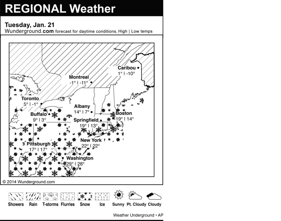 Photo - This is the Weather Underground forecast for Tuesday, Jan. 21, 2014 for the eastern region of the U.S. (AP Photo/Weather Underground)