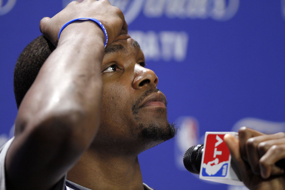 Oklahoma City\'s Kevin Durant thinks about a question during a press conference the day before Game 4 of the NBA Finals between the Oklahoma City Thunder and the Miami Heat at American Airlines Arena, Monday, June 18, 2012. Photo by Bryan Terry, The Oklahoman