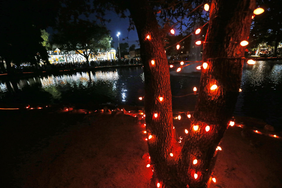 Red lights decorate Theta Pond during Walkaround at Oklahoma State University's homecoming in Stillwater, Okla., Friday, Oct. 19, 2012. Photo by Nate Billings, The Oklahoman