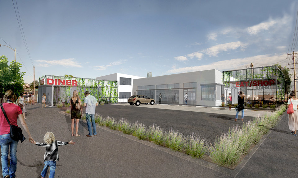 Photo -  Plans for redevelopment of a former B.F. Goodrich tire shop at NW 6 and Classen are shown in this drawing. Drawing provided by Butzer Gardner Architects