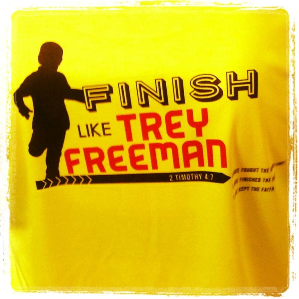 Photo -  Shirts that Newcastle runners are running in honor of Trey Freeman. PHOTO PROVIDED