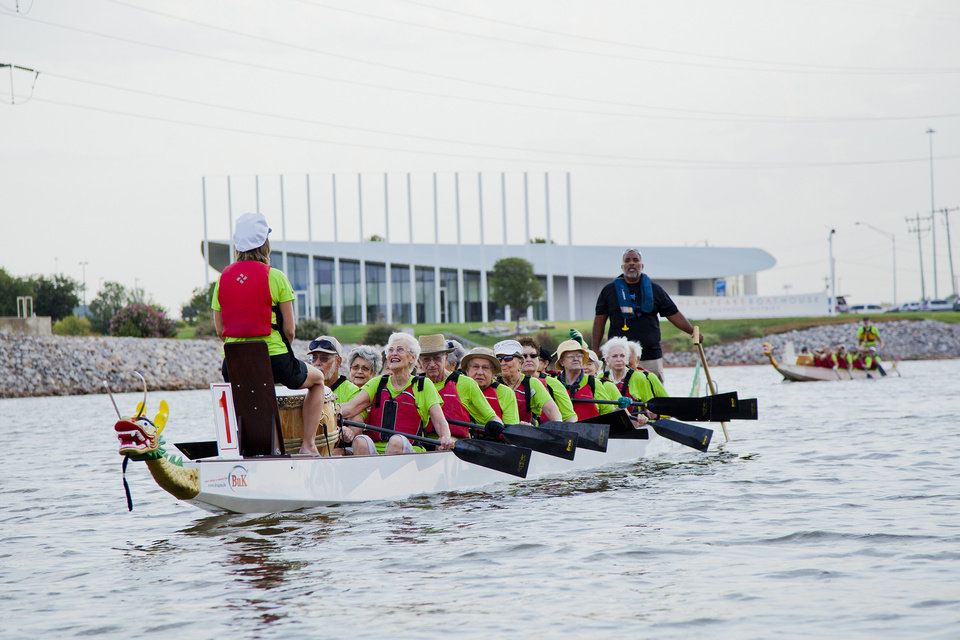 Photo -  Spanish Cove Golden Dragons practice their rowing skills on the Oklahoma River. Photo provided by Debbie Miller.