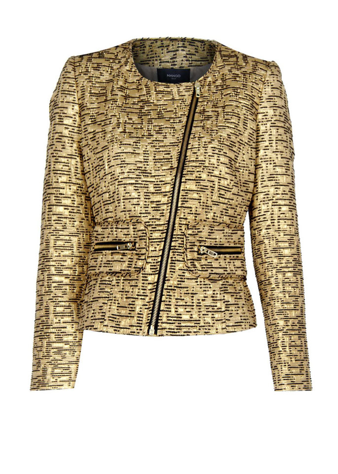 For regal flash and classic gilt, without the price tag guilt, try Mango's cotton/poly/viscose jacket, $39.99; at Mango stores and mango.com. (MCT)