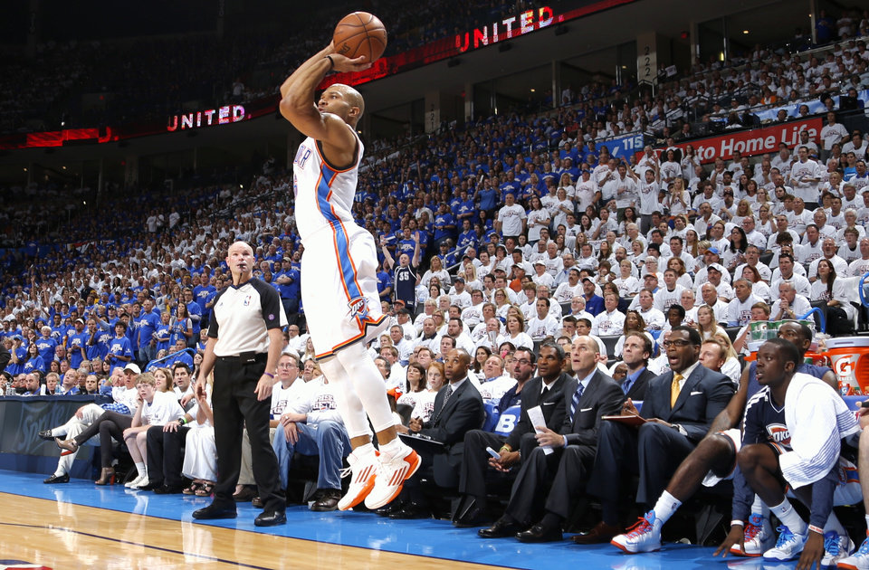 Oklahoma City\'s Derek Fisher makes a three pointer during Game 2 in the second round of the NBA playoffs between the Oklahoma City Thunder and the Memphis Grizzlies at Chesapeake Energy Arena In Oklahoma City, Tuesday, May 7, 2013. Photo by Bryan Terry, The Oklahoman