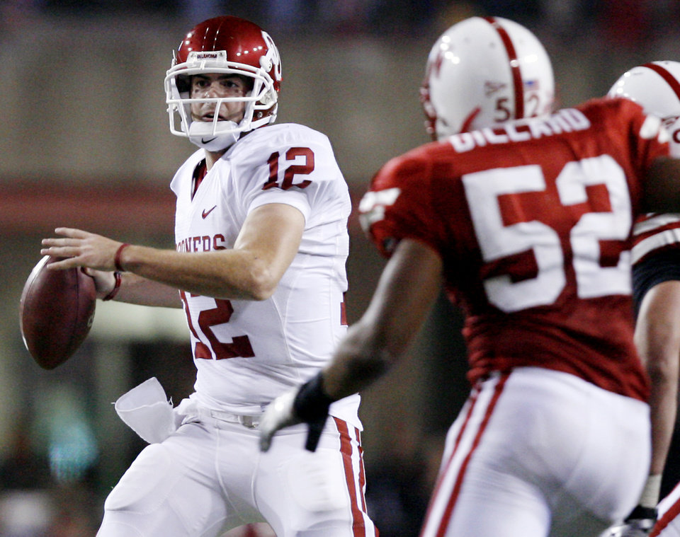 Oklahoma's Landry Jones (12) looks to throw the ball against the Nebraska defense during the first half of the college football game between the University of Oklahoma Sooners (OU) and the University of Nebraska Cornhuskers (NU) on Saturday, Nov. 7, 2009, in Lincoln, Neb.