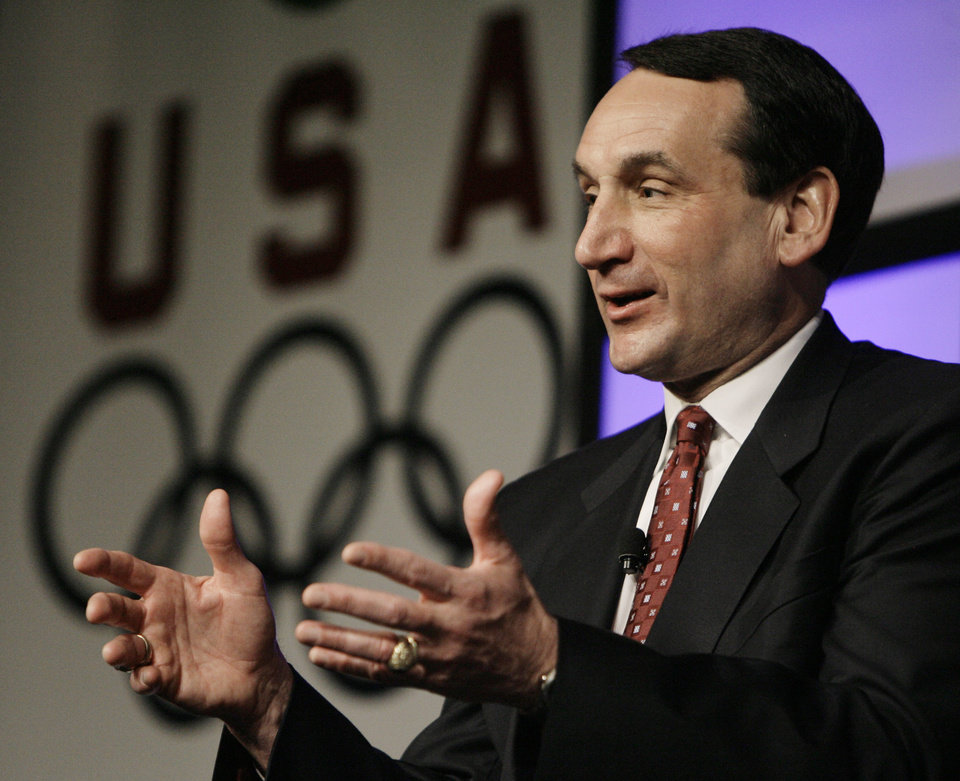 Photo - FILE -- In this April 15, 2008, file photo, U.S. Olympic men's basketball coach Mike Krzyzewski speaks during the U.S. Olympic Team Media Summit in Chicago. Krzyzewski will return along with his staff of assistants when the Americans defend their basketball gold medal in the 2012 Olympics. (AP Photo/M. Spencer Green, File) ORG XMIT: NY157