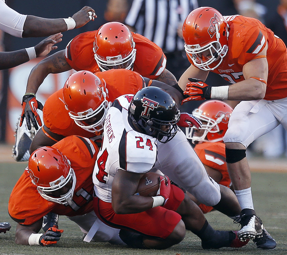 Photo - during a college football game between Oklahoma State University and the Texas Tech University (TTU) at Boone Pickens Stadium in Stillwater, Okla., Saturday, Nov. 17, 2012. Photo by Sarah Phipps, The Oklahoman