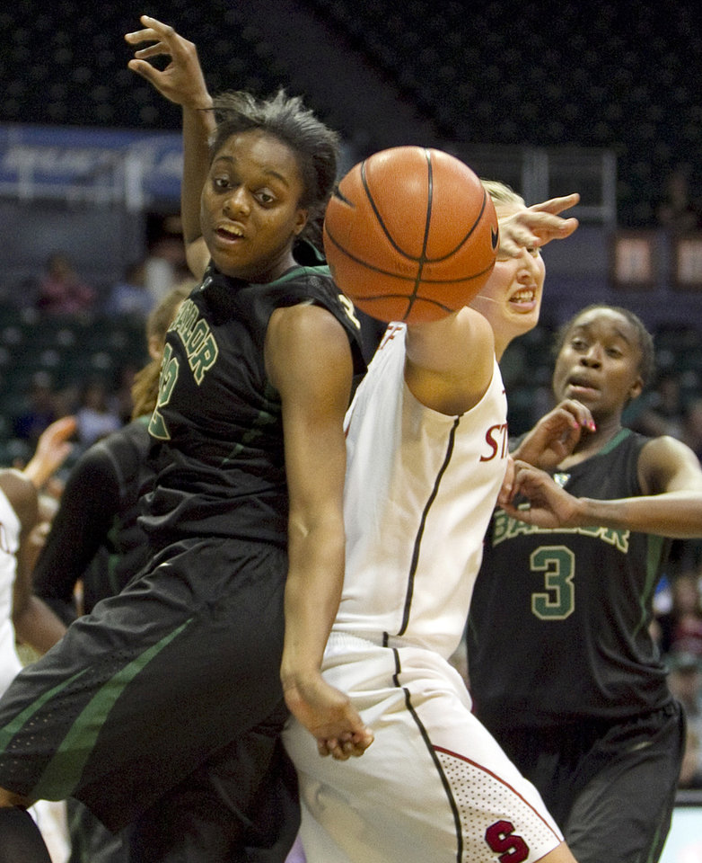 Photo -   Baylor forward Brooklyn Pope, left, and Stanford forward Mikaela Ruef (3) battle for a rebound during the second half of an NCAA college basketball game, Friday, Nov. 16, 2012 in Honolulu. (AP Photo/Marco Garcia)