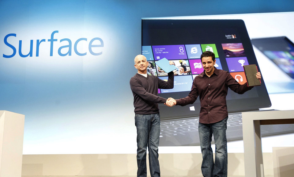 Windows President Steven Sinofsky, left, and Panos Panay, general manager for Surface Computing, introduce Microsoft's Surface as it makes its much-anticipated debut Thursday in New York. AP Images for Microsoft <strong>Jason DeCrow</strong>