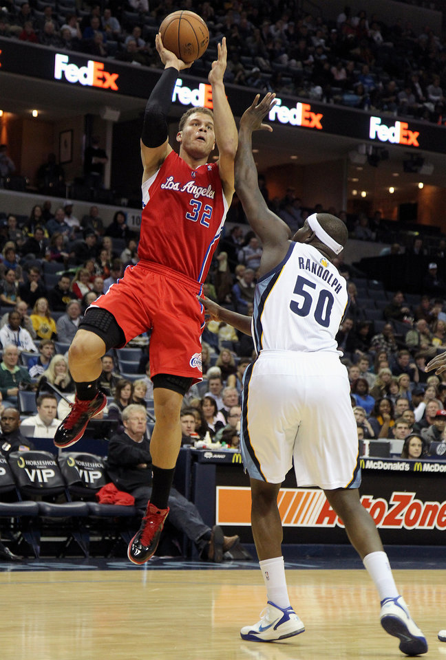 Los Angeles Clippers forward Blake Griffin (32) shoots over Memphis Grizzlies forward Zach Randolph (50) in the first half of an NBA basketball game on Monday, Jan. 14, 2013, in Memphis, Tenn. (AP Photo/Lance Murphey)
