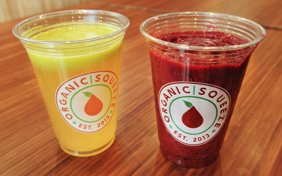 Photo - Citrus Kicker juice and Antioxidant Fusion smoothie at Organic Squeeze in  Photo by Paul B. Southerland, The Oklahoman