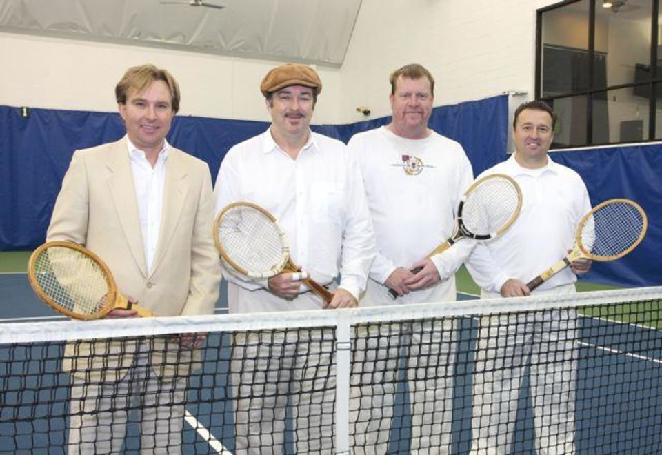 Brent Huesman, Gary Trost, Dexter MacBride, Tim Shanahan model tennis outfits and equipment at the Oklahoma City Golf and Country Club Tennis Facility. (Photo by David Faytinger, For The Oklahoman).