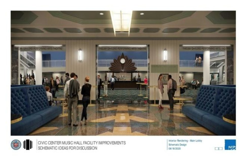 Photo -  The Civic Center's main lobby is due to undergo a full remodel as part of $9.4 million in bond funding approved by Oklahoma City voters in 2017. [Rendering provided by FSB Architects & Engineers]