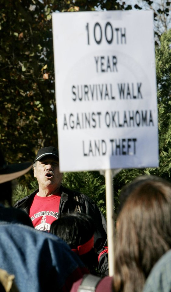 Photo - Dwain Camp of Ponca City speaks Friday, Nov. 16, 2007 during the Oklahoma Indians Survival Walk and Remembrance Ceremony near the state Capitol. BY JACONNA AGUIRRE/THE OKLAHOMAN.