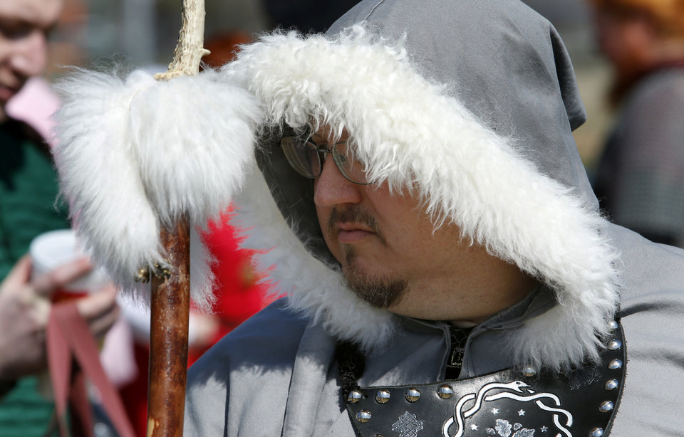 Photo -  Ben Sanders lines up for a processional during a rehearsal for the Medieval Fair in Reaves Park. The fair opens Friday and continues through Sunday. PHOTO BY STEVE SISNEY, THE OKLAHOMAN   STEVE SISNEY -