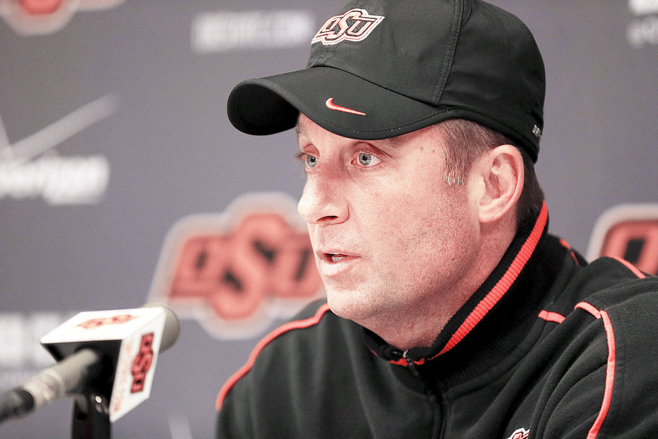 OSU coach Mike Gundy�s name came up often when the Arkansas and Tennessee coaching jobs were open. Photo by Nate Billings, The Oklahoman