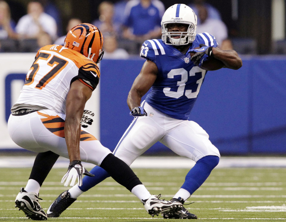 Photo -   Indianapolis Colts running back Vick Ballard (33) tries to get past Cincinnati Bengals linebacker Vincent Rey in the first half of an NFL preseason football game in Indianapolis, Thursday, Aug. 30, 2012. (AP Photo/AJ Mast)