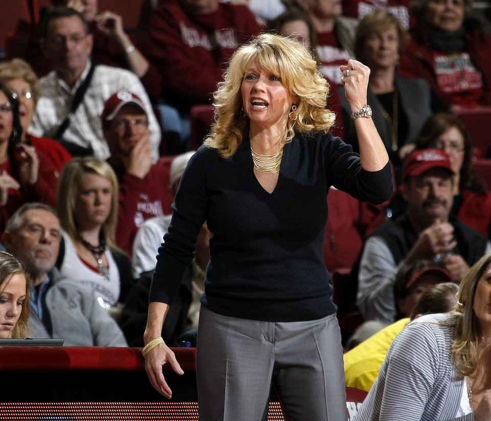 Photo - Oklahoma coach Sherri Coale shouts during the Big 12 women's basketball game between the University of Oklahoma and Texas A&M at Lloyd Noble Center in Norman, Okla., Wednesday January 26, 2011.  Photo by Bryan Terry, The Oklahoman