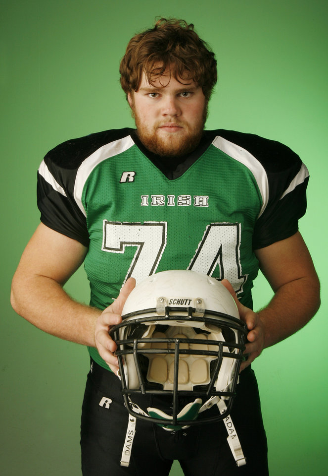Gabe Moyer, Bishop McGuinness, poses for a photo in the OPUBCO studio for The Oklahoman's All-State Football Team, in Oklahoma City, Wednesday, Dec. 12, 2007. By Nate Billings, The Oklahoman
