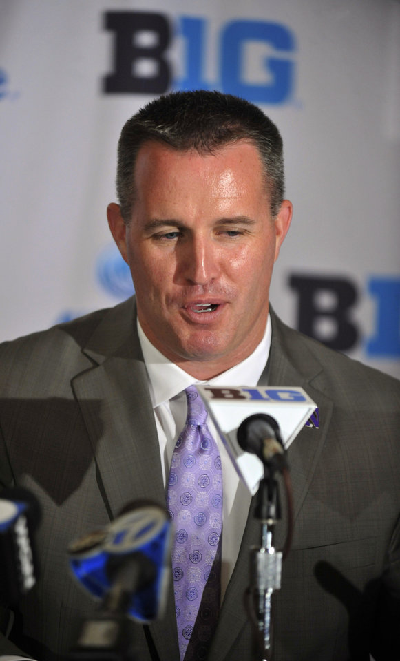 Photo - Northwestern head coach Pat Fitzgerald talks to the media during the Big Ten football media days Monday July 28, 2014, Sports Time Schedule/Planner