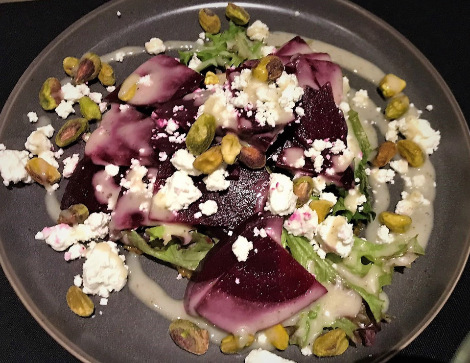 Photo -  The Beet and Goat Cheese Salad from The Union Wood-Fired Grill in Oklahoma City. [Photo by Dave Cathey, The Oklahoman]