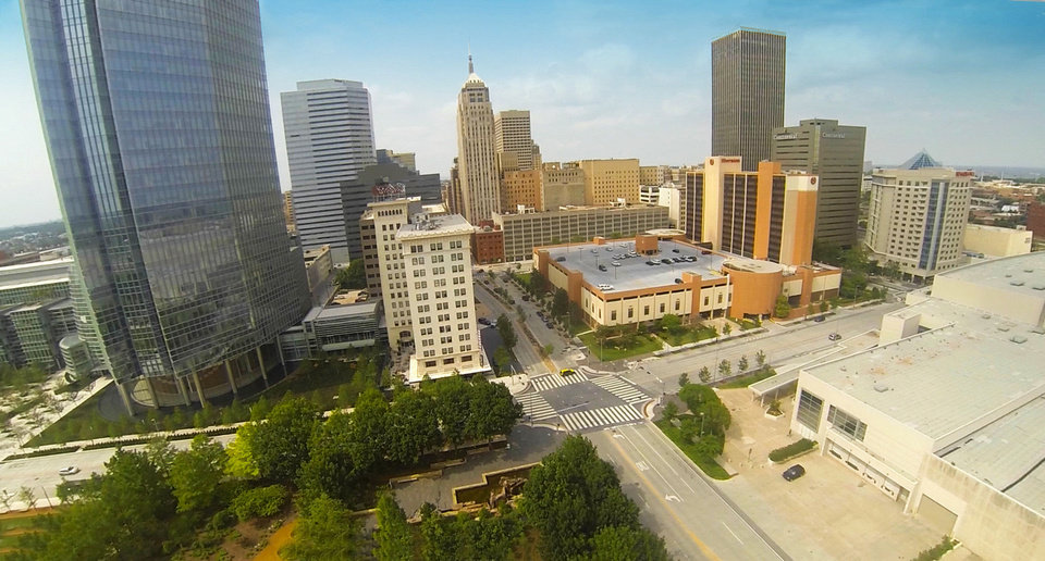 Photo - This photograph of downtown was taken from video shot from a quadrocopter used by Price Edwards & Co. in the commercial real estate business.   - PROVIDED BY PRICE EDWARDS & CO.