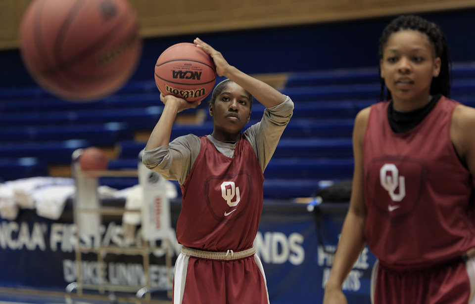 Oklahoma's Aaryn Ellenberg prepares to shoot during practice before the NCAA basketball tournament in Durham, N.C., Friday, March 21, 2014.  Oklahoma faces DePaul in the first round on Saturday.  (AP Photo/Ted Richardson)