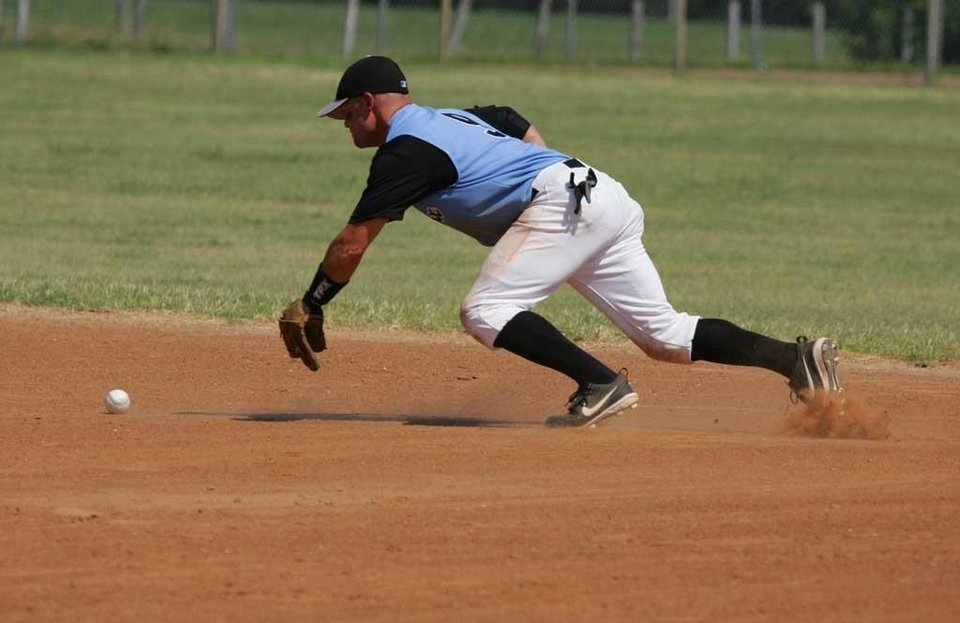 John Whitaker tracks down a ball. OKC Adult Baseball.<br/><b>Community Photo By:</b> Dean Humphrey<br/><b>Submitted By:</b> ryan,