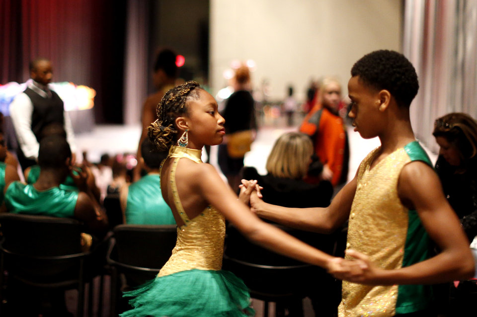 Photo -  Asiah Starks and Sha'Marie Portis practice backstage before the LifeChange Ballroom competition at the Rose State Performing Arts Theatre in Midwest City. Photo by Sarah Phipps, The Oklahoman   Sarah PHIpps -  Sarah Phipps