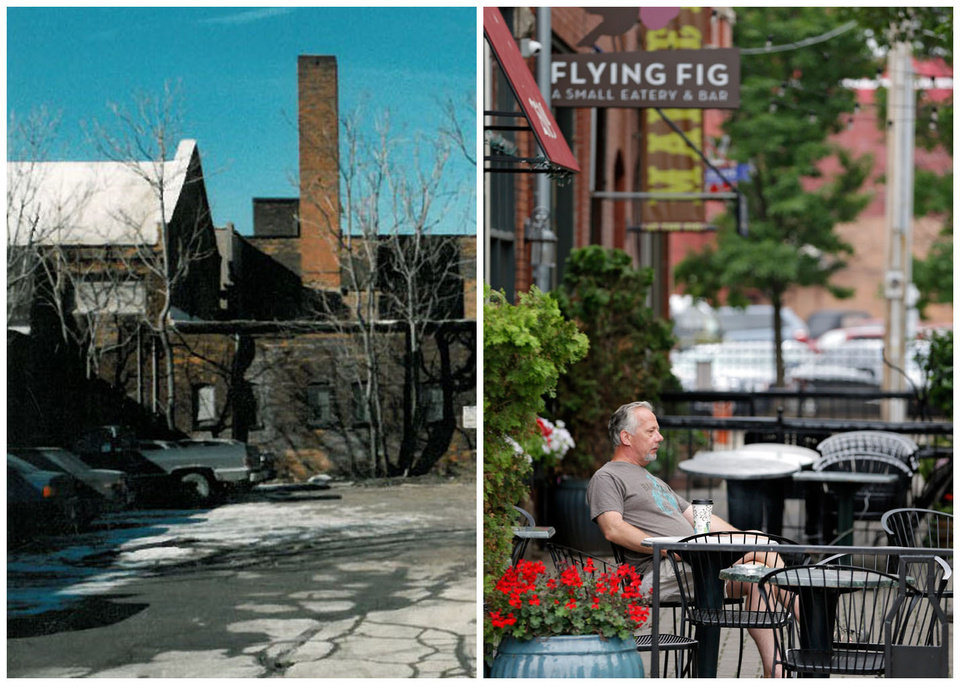 Photo - This combination photo shows, left, an undated photo provided by Great Lakes Brewing showing Cleveland's Ohio City neighborhood in 1988, and right, Paul Nasvytis enjoying his morning coffee at Koffie Cafe across from the Great Lakes Brewing Co., on July 1, 2013, in Cleveland. Great Lakes opened in Cleveland's Ohio City neighborhood in 1988. The downtown neighborhood was