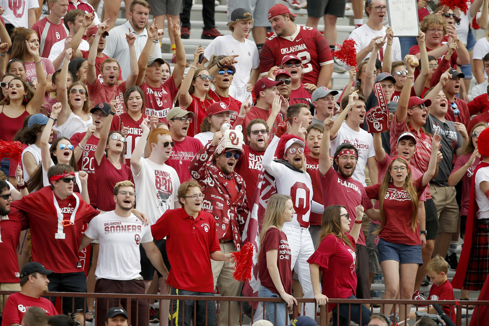 Photo - Oklahoma fans cheer during a college football game between the University of Oklahoma Sooners (OU) and Texas Tech University at Gaylord Family-Oklahoma Memorial Stadium in Norman, Okla., Saturday, Sept. 28, 2019. Oklahoma won 55-16. [Bryan Terry/The Oklahoman]