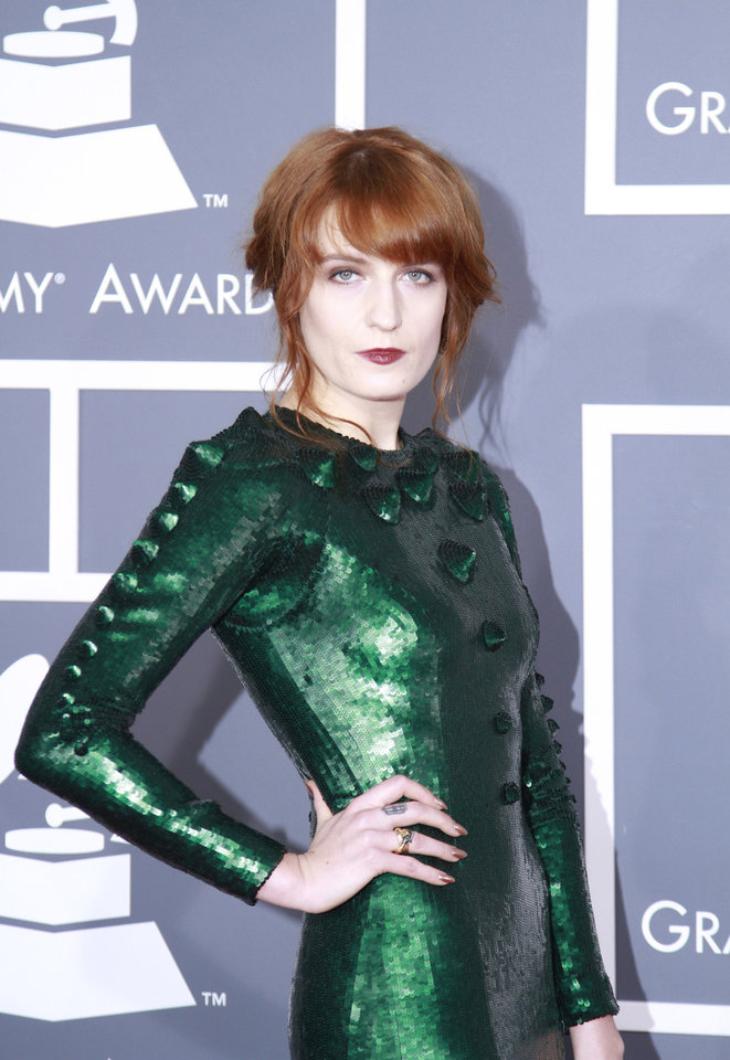 Florence Welch arrives for the 55th Annual Grammy Awards at Staples Center in Los Angeles, California, on Sunday, February 10, 2013. (Kirk McKoy/Los Angeles Times/MCT)