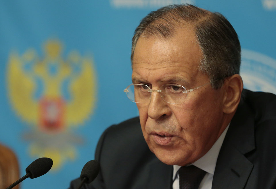 Photo - Russia's Foreign Minister Sergey Lavrov speaks in Moscow, Russia, Monday, Aug. 25, 2014. Russia has announced plans to send a second aid convoy to rebel-held eastern Ukraine, where months of fighting have left many residential buildings in ruins. Lavrov said Monday that Russia had notified the Ukrainian government that it was preparing to send a second convoy along the same route in the coming days.  (AP Photo/Ivan Sekretarev)