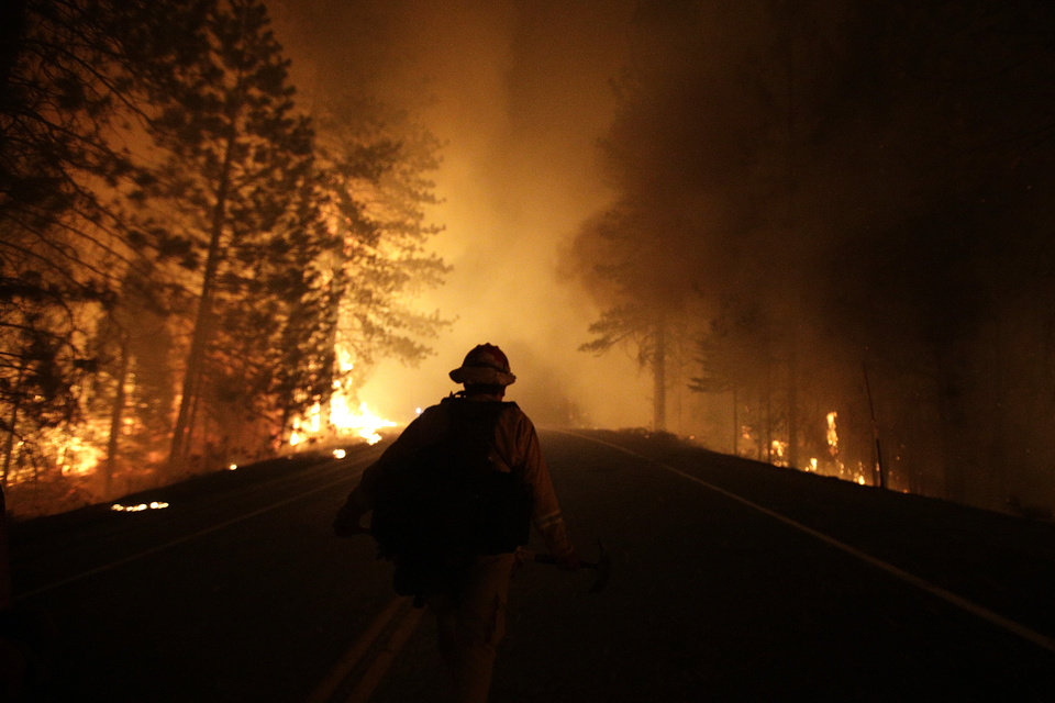 Photo - A firefighter walks along Highway 120 past burning trees as firefighters continues to battle the Rim Fire near Yosemite National Park, Calif., on Sunday, Aug. 25, 2013. Fire crews are clearing brush and setting sprinklers to protect two groves of giant sequoias as a massive week-old wildfire rages along the remote northwest edge of Yosemite National Park. (AP Photo/Jae C. Hong)