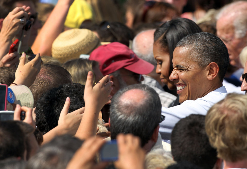 Photo -   President Barack Obama greets supporters during a campaign stop , Friday, Sept. 7, 2012, in Portsmouth, N.H. (AP Photo/Jim Cole)