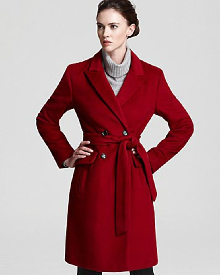 For a similar red coat actress Leelee Sobieski wore to Paris Fashion Week, try the Calvin Klein wrap coat from Bloomingdale\'s for $292. (Courtesy Bloomngdales.com via Los Angeles Times/MCT)