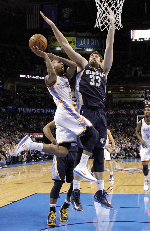 Memphis' Marc Gasol (33) shuts down Oklahoma City's Eric Maynor (6) during the NBA basketball game between the Oklahoma City Thunder and the Memphis Grizzlies at Chesapeake Energy Arena on Wednesday, Nov. 14, 2012, in Oklahoma City, Okla.   Photo by Chris Landsberger, The Oklahoman