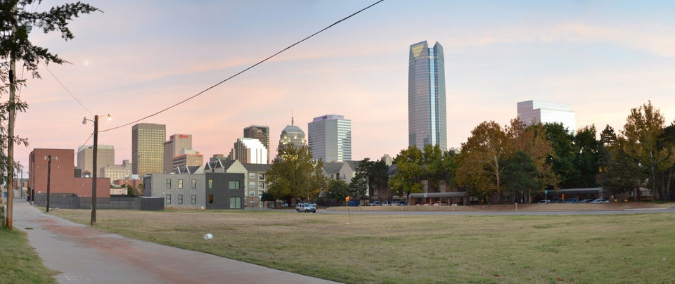 Photo -  The downtown skyline can be seen from the block where the Bower at Lee will be built in 2018. [Photo provided]