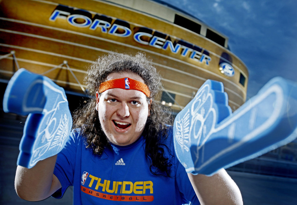 Photo - Thunder super fan Zeb Benbrook poses for a portrait outside the Ford Center in Oklahoma City, Thursday, Feb. 12, 2009. PHOTO BY BRYAN TERRY, THE OKLAHOMAN