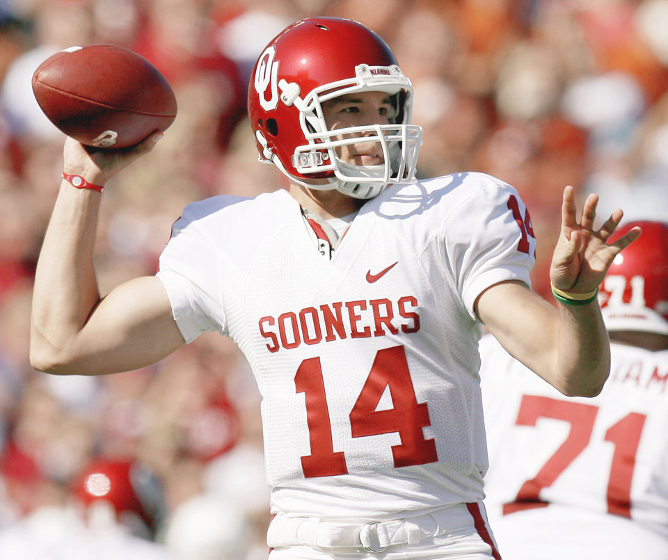 OU quarterback Sam Bradford said Sunday he will have season-ending surgery and likely enter April's NFL Draft. PHOTO BY BRYAN TERRY, THE OKLAHOMAN