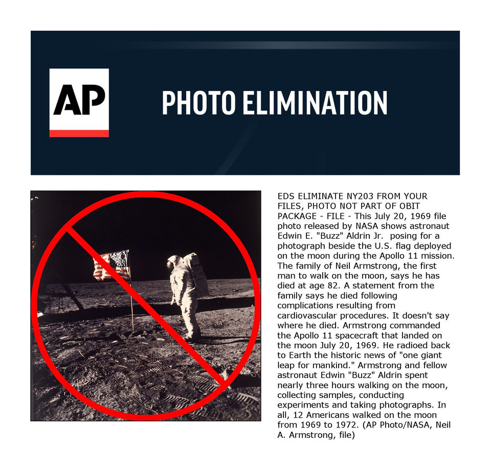 "EDS ELIMINATE NY203 FROM YOUR FILES, PHOTO NOT PART OF OBIT PACKAGE - FILE - This July 20, 1969 file photo released by NASA shows astronaut Edwin E. ""Buzz"" Aldrin Jr. posing for a photograph beside the U.S. flag deployed on the moon during the Apollo 11 mission. The family of Neil Armstrong, the first man to walk on the moon, says he has died at age 82. A statement from the family says he died following complications resulting from cardiovascular procedures. It doesn't say where he died. Armstrong commanded the Apollo 11 spacecraft that landed on the moon July 20, 1969. He radioed back to Earth the historic news of ""one giant leap for mankind."" Armstrong and fellow astronaut Edwin ""Buzz"" Aldrin spent nearly three hours walking on the moon, collecting samples, conducting experiments and taking photographs. In all, 12 Americans walked on the moon from 1969 to 1972. (AP Photo/NASA, Neil A. Armstrong, file)"