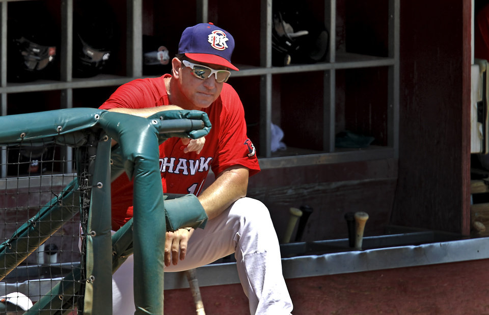 OKLAHOMA CITY REDHAWKS / MINOR LEAGUE BASEBALL: Oklahoma City manager Tony DeFrancesco looks on from the dugout during the RedHawks' game against Omaha at the Chickasaw Bricktown Ballpark in Oklahoma City, Okla. Tuesday, June 26, 2012.   Photo by Chris Landsberger, The Oklahoman