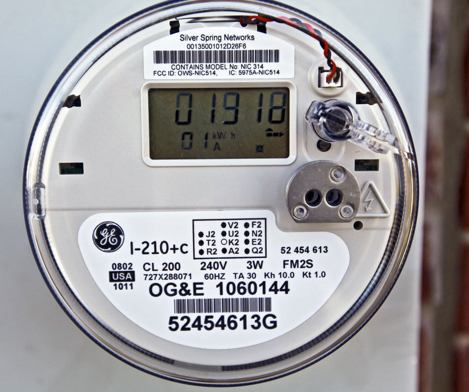 A smart meter is shown on a home in Piedmont.