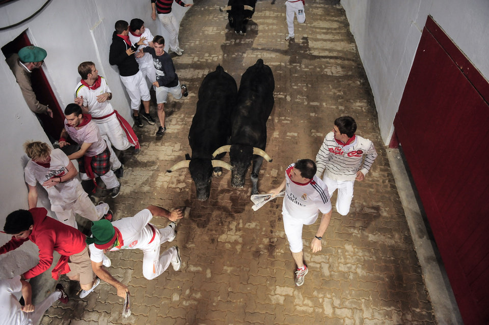 Photo - Revelers arrive at the bull ring beside ''Dolores Aguirre Ybarra'' fighting bulls during the running of the bulls at the San Fermin festival, in Pamplona, Spain, Tuesday, July 8, 2014. Revelers from around the world arrive to Pamplona every year to take part in some of the eight days of the running of the bulls glorified by Ernest Hemingway's 1926 novel