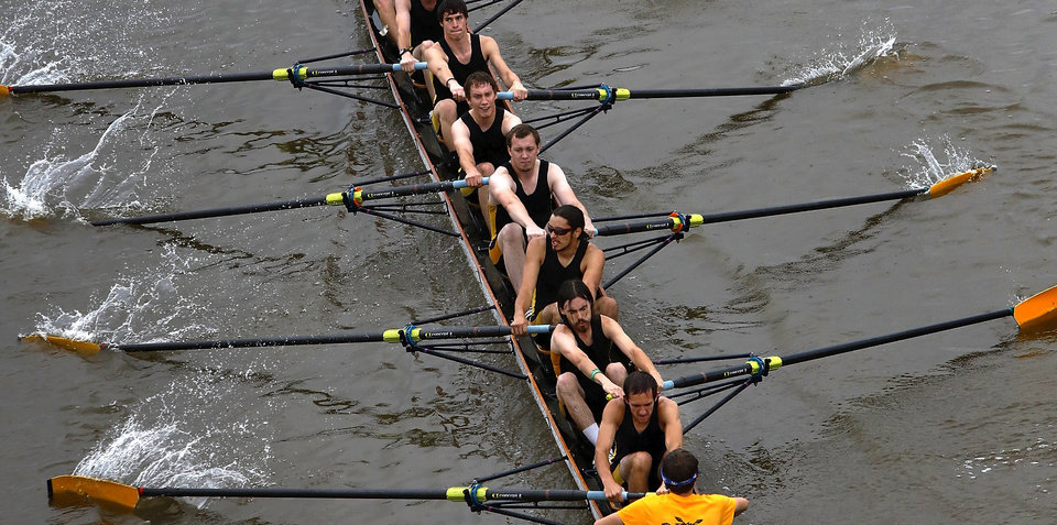 Wichita State University team during a race. Regatta Festival on the Oklahoma River in the Boat District,  Saturday,  Sep. 29, 2012. The event ends Sunday. Photo by Jim Beckel, The Oklahoman.
