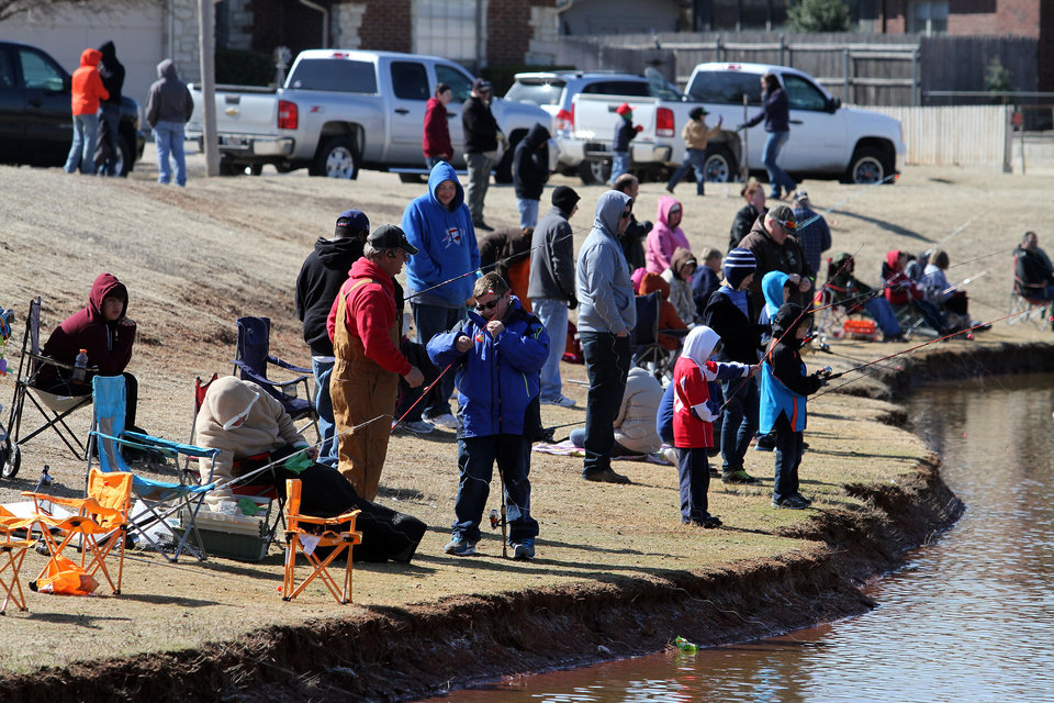 There were many participants during the Trout Fish Out Saturday, March 2, 2013,  morning at the Dale Robertson Activity Center pond in Yukon. PHOTO BY HUGH SCOTT FOR THE OKLAHOMAN