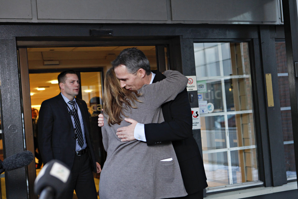 Norway\'s Prime Minister Jens Stoltenberg is embraced by Executive Vice President in Statoil, Margrethe Oevrum, Saturday Jan. 19, 2013, after his visit at the drop-in center in Bergen for relatives of the Statoil-employees taken hostage in Algeria. In a bloody finale on Saturday, Algerian special forces stormed a natural gas complex in the Sahara desert to end a four-day standoff with Islamic extremists that left at least 19 hostages and 29 militants dead. With few details emerging from the remote site, it was unclear whether anyone was rescued in the final operation. (AP Photo / Anette Karlsen, NTB scanpix) NORWAY OUT
