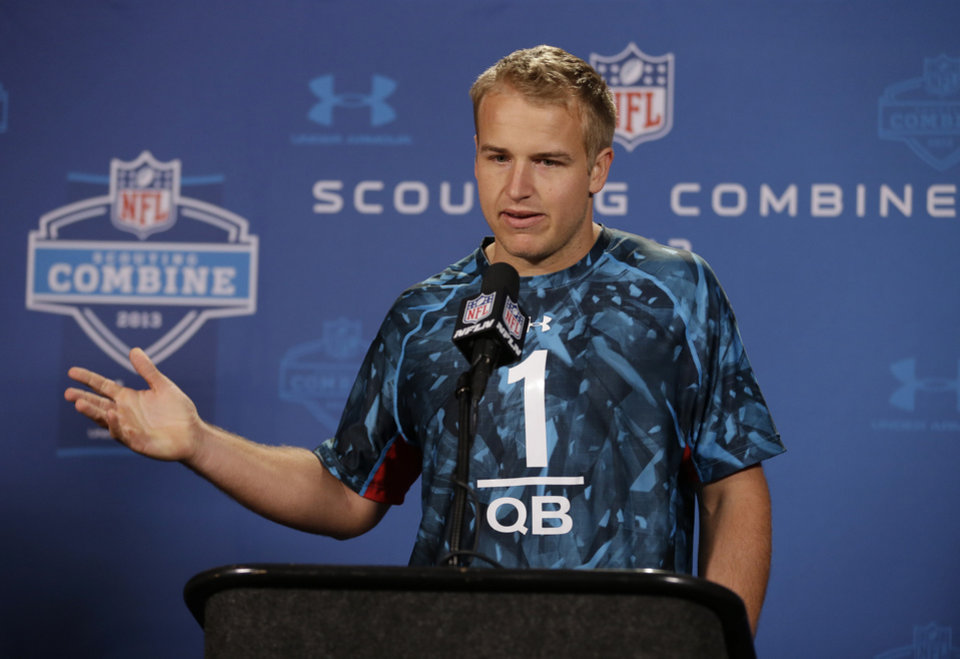 Southern California quarterback Matt Barkley answers a question during a news conference at the NFL football scouting combine in Indianapolis, Friday, Feb. 22, 2013. (AP Photo/Michael Conroy)