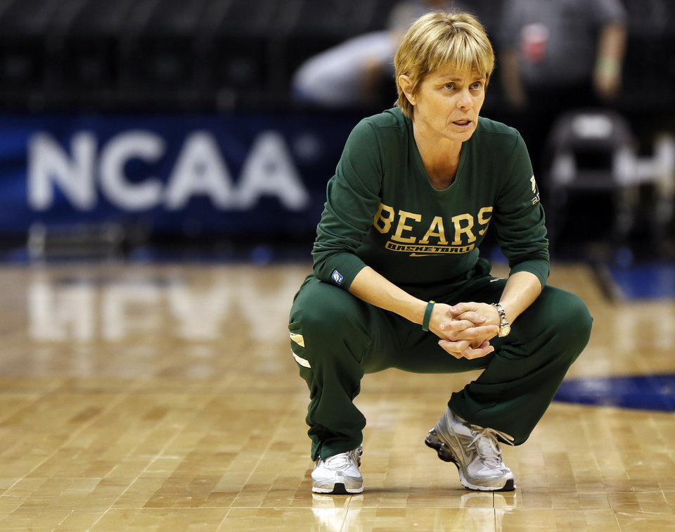Baylor coach Kim Mulkey watches her team practice during the press conference and practice day at the Oklahoma City Regional for the NCAA women\'s college basketball tournament at Chesapeake Energy Arena in Oklahoma City, Saturday, March 30, 2013. Photo by Nate Billings, The Oklahoman