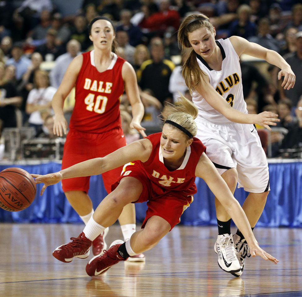 Dale's Jaelin Flewallen loses the ball off the defense of Bailey Forell during the 2A girls semifinal game between the Dale High School Lady Pirates and the Alva Lady Bugs at the State Fair Arena on Friday, March 8, 2013 in Oklahoma City, Okla.  Photo by Steve Sisney, The Oklahoman